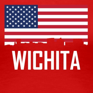 Wichita Kansas Skyline American Flag - Women's Premium T-Shirt