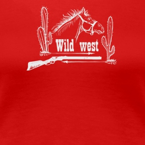 With horse revolver and cactus - Women's Premium T-Shirt