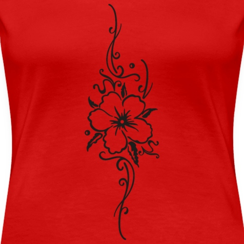 Ornament with hibiscus and filigree tendril - Women's Premium T-Shirt
