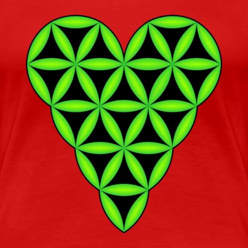 Heart of Life x 1, Green-Neon, 3D - L. - Women's Premium T-Shirt