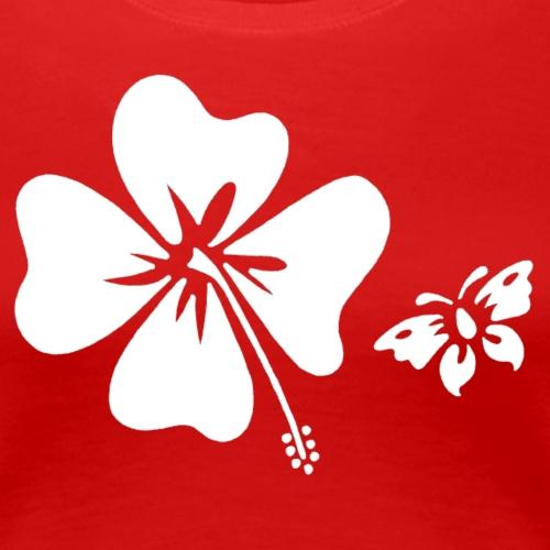 Hibiscus Butterfly Design - Women's Premium T-Shirt
