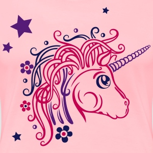 Colorful unicorn with stars and flowers - Women's Premium T-Shirt