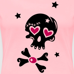 Skull with hearts and stars - Women's Premium T-Shirt