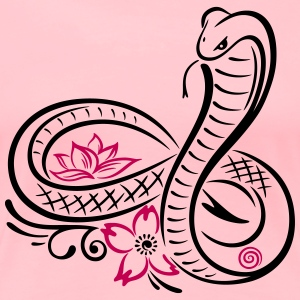 Snake with lotus flower and infinity - Women's Premium T-Shirt