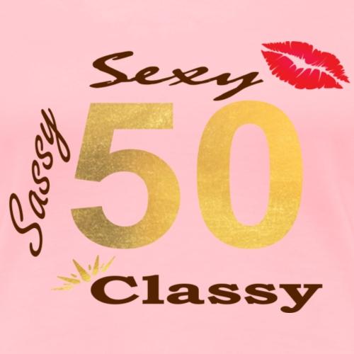 Sexy, Sassy & Classy_brwnNgold - Women's Premium T-Shirt