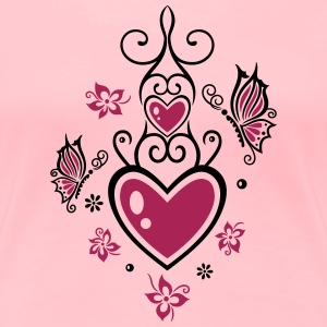Heart with butterflies and flowers, Mothers Day - Women's Premium T-Shirt