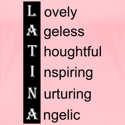 Latina love words black - Women's Premium T-Shirt