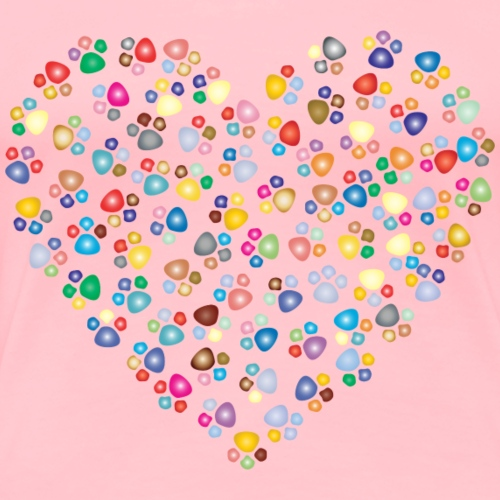 Cat Paw Prints Heart - Women's Premium T-Shirt