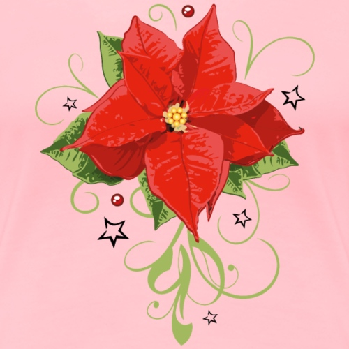 Red Poinsettia with leaves. Christmas Flower. - Women's Premium T-Shirt