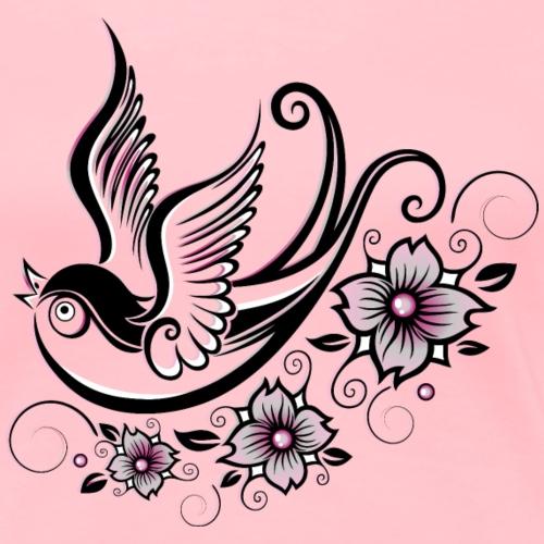 Swallow with cherry blossoms. Sakura. Spring. - Women's Premium T-Shirt