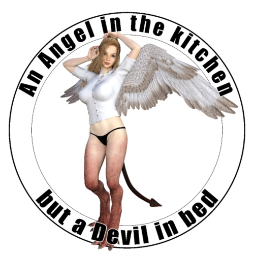 Angel in the kitchen but a devil in bed - T-shirt premium pour femmes