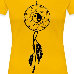 Dreamcatcher with feather and Yin and Yang - Women's Premium T-Shirt