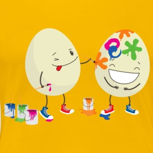 Happy Easter eggs decorating each other - Women's Premium T-Shirt
