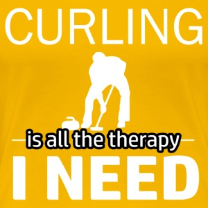 Curling is my therapy - Women's Premium T-Shirt