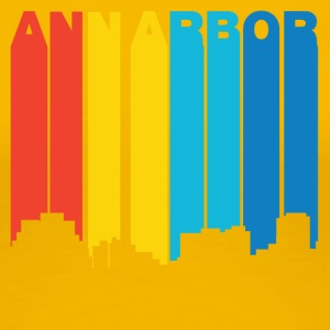 Retro 1970's Style Ann Arbor Michigan Skyline - Women's Premium T-Shirt