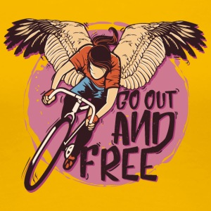 Wings bicycle cyclist go out and free - Women's Premium T-Shirt