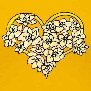 yellow_heart_with_flowers - Women's Premium T-Shirt