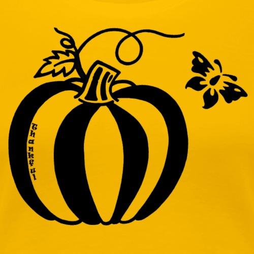 Thankful Pumpkin Butterfly Design - Women's Premium T-Shirt