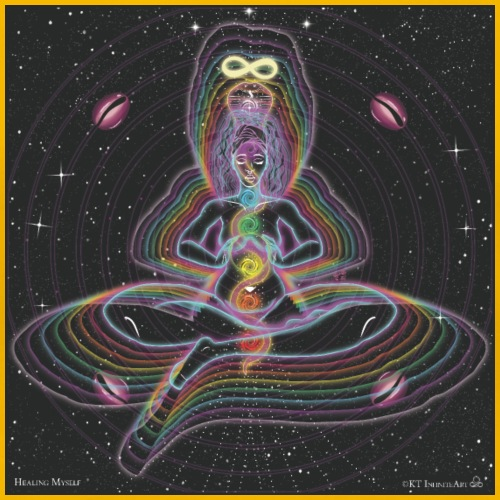 Healing Myself Cosmic Art - Women's Premium T-Shirt