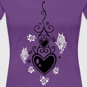 Hearts with tribal, flowers and butterflies - Women's Premium T-Shirt