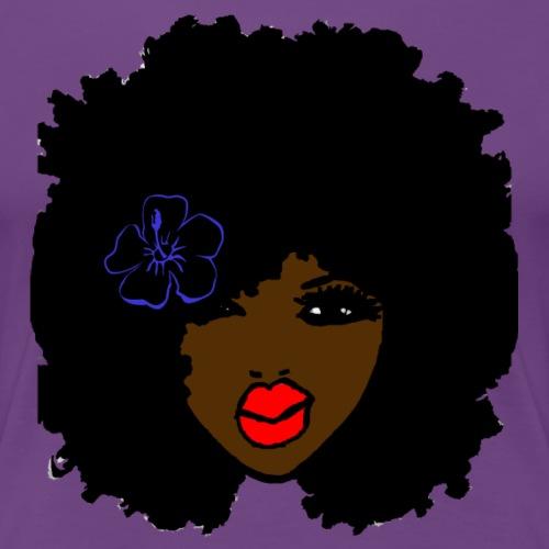Brown skin CurlyAfro NaturalHair Flower Red Lips - Women's Premium T-Shirt