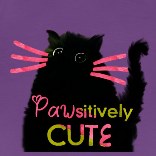 Pawsitively Cute Black Cat - Women's Premium T-Shirt
