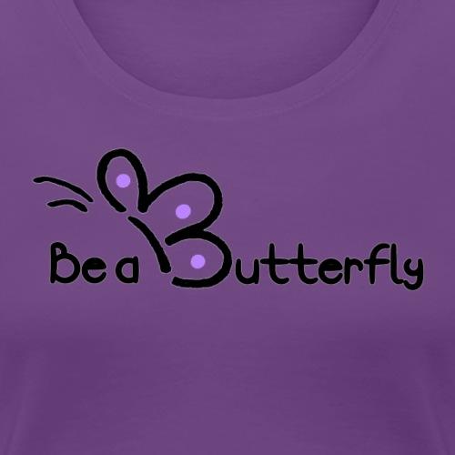 Be a Butterfly logo in purple - Women's Premium T-Shirt