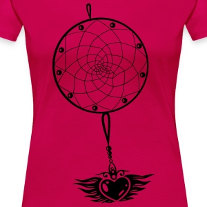 Dreamcatcher with heart and wings. - Women's Premium T-Shirt