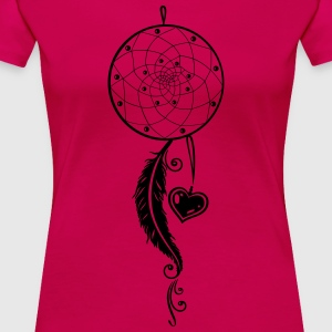 Dreamcatcher with heart and feather. - Women's Premium T-Shirt
