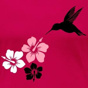 Hummingbird, colibri with hibiscus - Women's Premium T-Shirt
