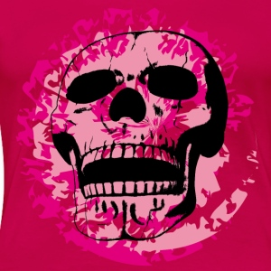 skull on pink splotches - Women's Premium T-Shirt