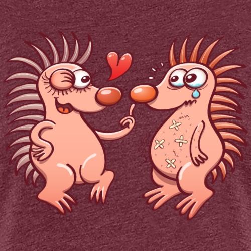 Bold hedgehogs playing dangerous love games - Women's Premium T-Shirt