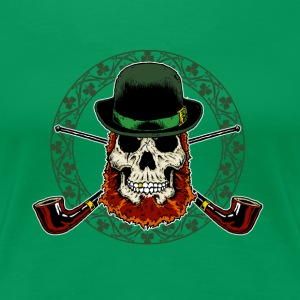 Leprechaun Skull with Crossed Pipes - Women's Premium T-Shirt
