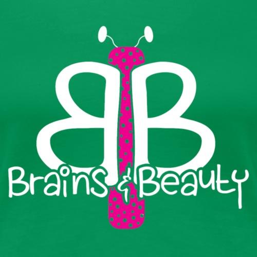 Brains & Beauty_White Text - Women's Premium T-Shirt
