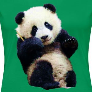 Cute little Panda sitting & watching - Women's Premium T-Shirt