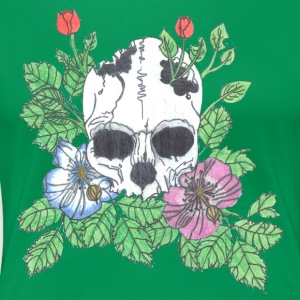 Pink and Blue Flower Skull - Women's Premium T-Shirt