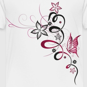 Flower with butterfly, cherry red - Toddler Premium T-Shirt
