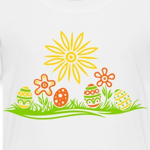 Easter eggs and flowers, meadow - Toddler Premium T-Shirt