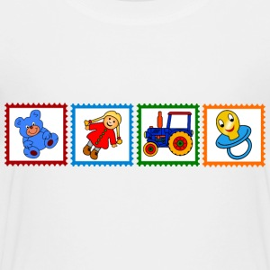 Four stamps with toys - Toddler Premium T-Shirt