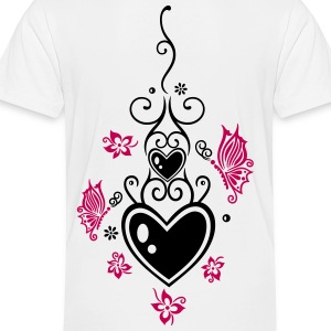 Hearts with tribal, flowers and butterflies - Toddler Premium T-Shirt
