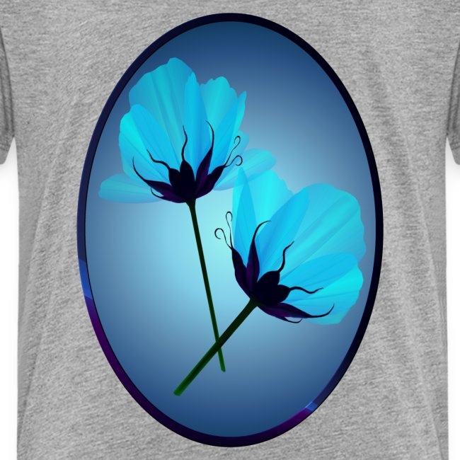 Two Electric Blue Flowers Oval