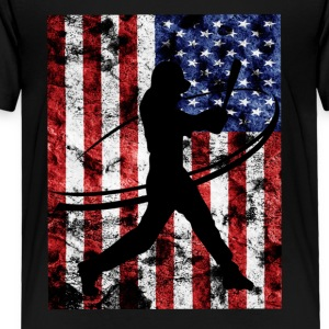 Baseball Pitcher American Flag Tee Shirt - Toddler Premium T-Shirt
