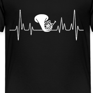 French Horn Heartbeat Shirt - Toddler Premium T-Shirt