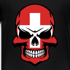 Swiss Flag Skull Cool Switzerland Skull - Toddler Premium T-Shirt