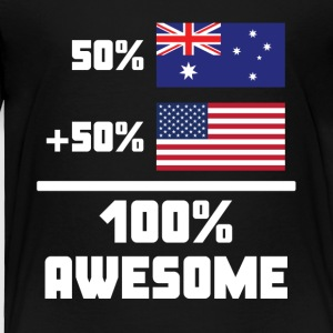 50% Australian 50% American 100% Awesome Flag - Toddler Premium T-Shirt