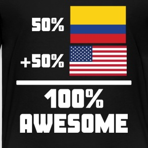50% Colombian 50% American 100% Awesome Flag - Toddler Premium T-Shirt