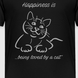 Happiness Is Being Loved By A Cat Funny - Toddler Premium T-Shirt