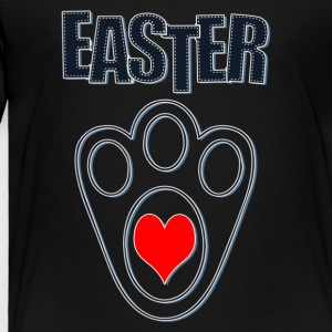 Easter Bunny Footprints, Easter Heart Bunny - Toddler Premium T-Shirt