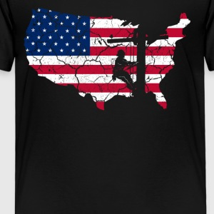 USA Patriotic American Flag US Lineman Gift Shirt - Toddler Premium T-Shirt