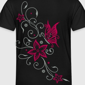 Flowers with filigree floral ornament, butterfly - Toddler Premium T-Shirt
